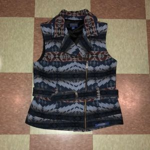 Pendleton Aztec Navajo wool vest small blue